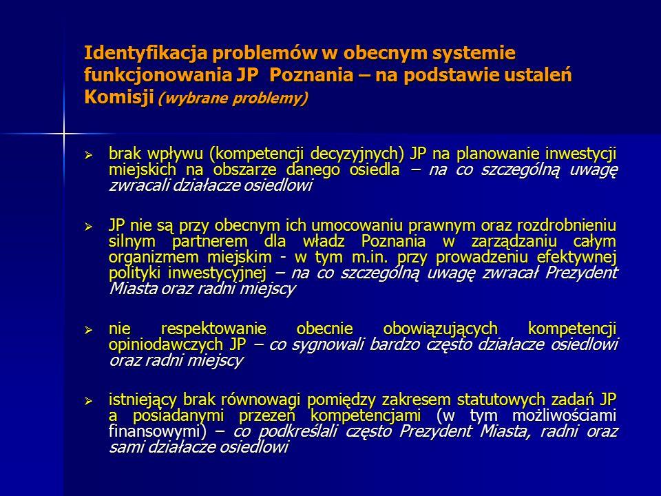 Identyfikacja problemów w obecnym systemie funkcjonowania JP Poznania – na podstawie ustaleń Komisji (wybrane problemy)  brak wpływu (kompetencji decyzyjnych) JP na planowanie inwestycji miejskich na obszarze danego osiedla – na co szczególną uwagę zwracali działacze osiedlowi  JP nie są przy obecnym ich umocowaniu prawnym oraz rozdrobnieniu silnym partnerem dla władz Poznania w zarządzaniu całym organizmem miejskim - w tym m.in.