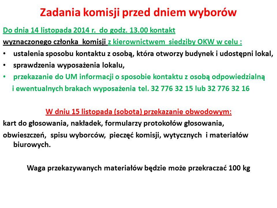 Zadania komisji przed dniem wyborów Do dnia 14 listopada 2014 r.