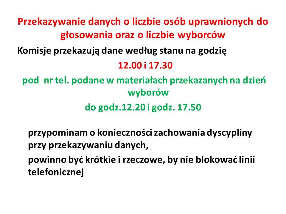Przekazywanie danych o liczbie osób uprawnionych do głosowania oraz o liczbie wyborców Komisje przekazują dane według stanu na godzię 12.00 i 17.30 pod nr tel.