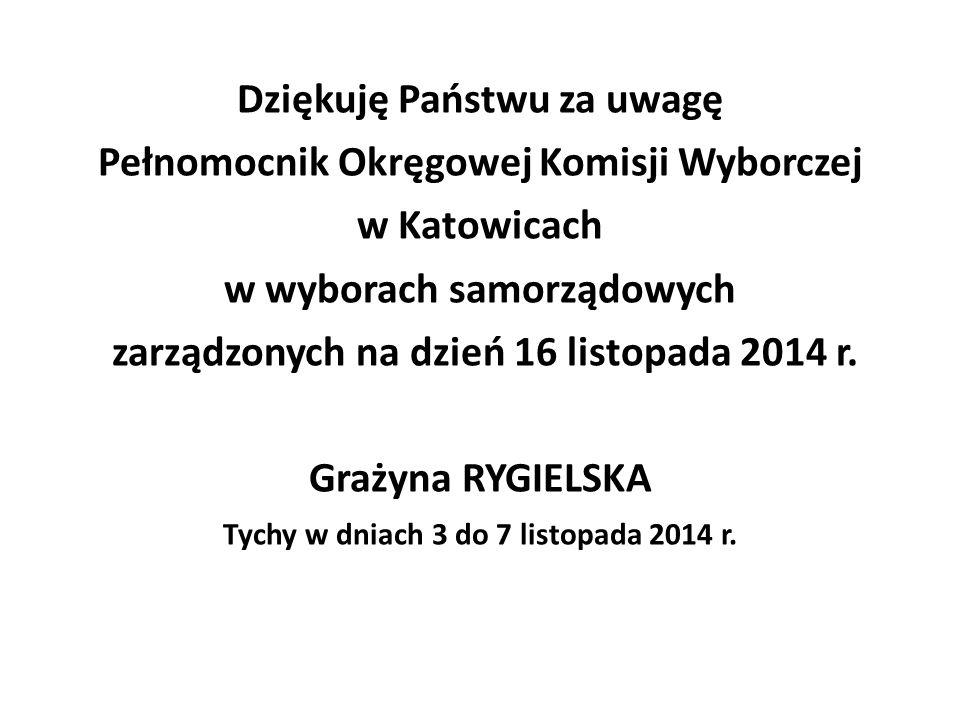 Dziękuję Państwu za uwagę Pełnomocnik Okręgowej Komisji Wyborczej w Katowicach w wyborach samorządowych zarządzonych na dzień 16 listopada 2014 r.