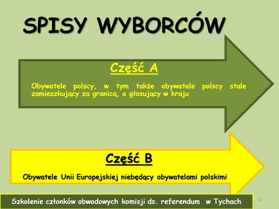 SPISY WYBORCÓW 17 Część A Obywatele polscy, w tym także obywatele polscy stale zamieszkujący za granicą, a głosujący w kraju Część B Obywatele Unii Europejskiej niebędący obywatelami polskimi Szkolenie członków obwodowych komisji ds.