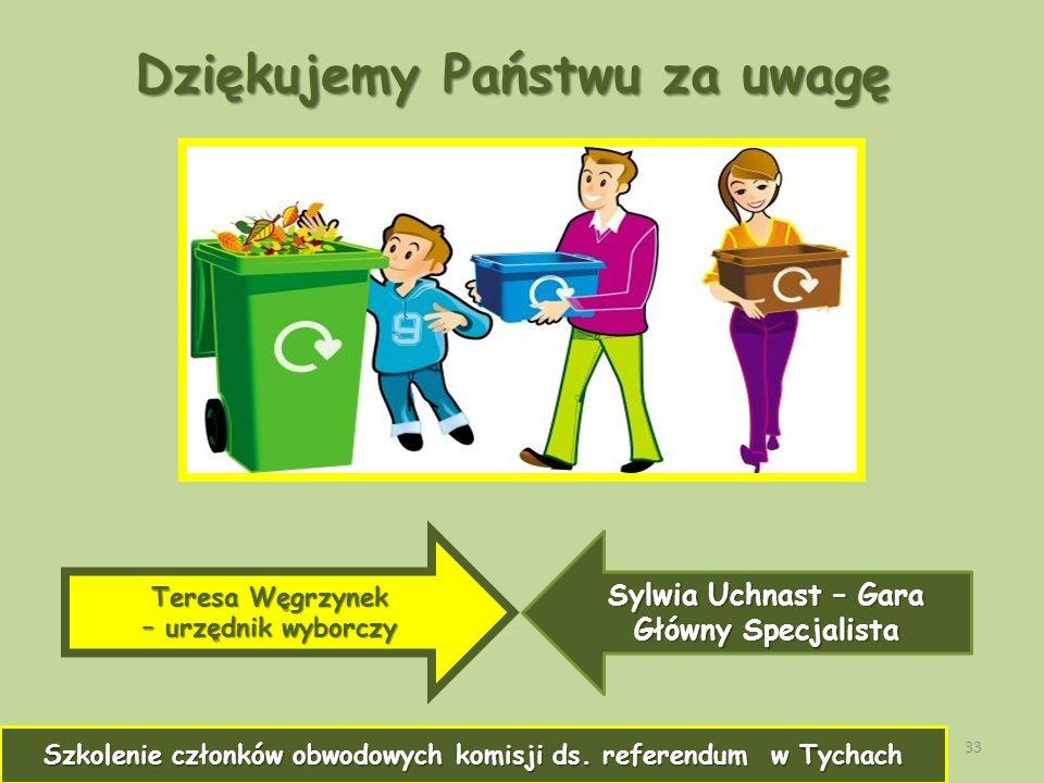 33 Dziękujemy Państwu za uwagę Teresa Węgrzynek – urzędnik wyborczy Sylwia Uchnast – Gara Główny Specjalista Szkolenie członków obwodowych komisji ds.