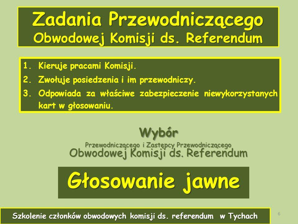 Zadania Przewodniczącego Obwodowej Komisji ds. Referendum 1.Kieruje pracami Komisji.