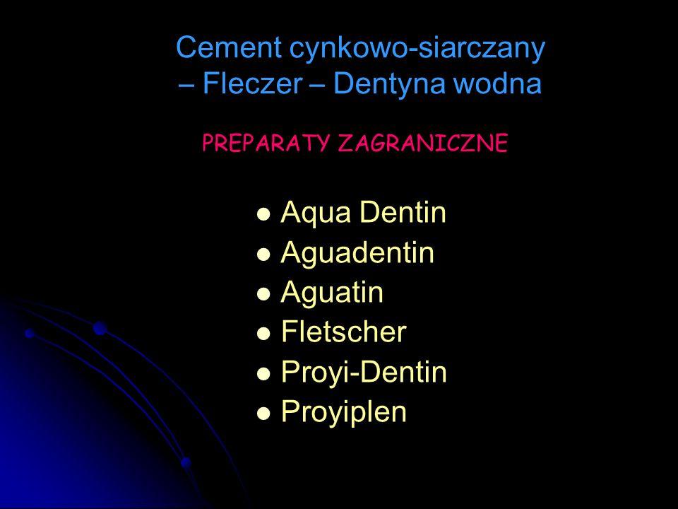 Aqua Dentin Aguadentin Aguatin Fletscher Proyi-Dentin Proyiplen Cement cynkowo-siarczany – Fleczer – Dentyna wodna PREPARATY ZAGRANICZNE
