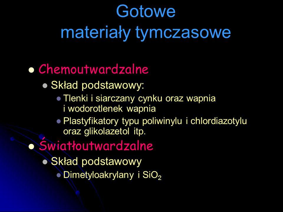 Chemoutwardzalne Skład podstawowy: Tlenki i siarczany cynku oraz wapnia i wodorotlenek wapnia Plastyfikatory typu poliwinylu i chlordiazotylu oraz gli