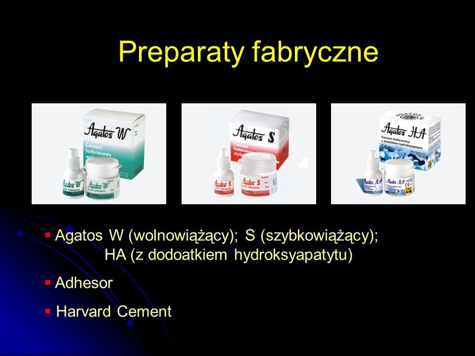 Preparaty fabryczne  Agatos W (wolnowiążący); S (szybkowiążący); HA (z dodoatkiem hydroksyapatytu)  Adhesor  Harvard Cement