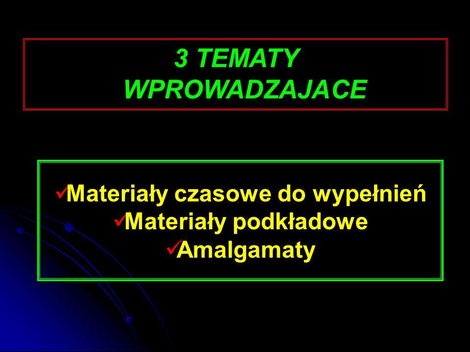 Gotowe materiały tymczasowe ChemoutwardzalneŚwiatłoutwardzalne  Coltosol F (Coltene)  Prowident (Zhermapol)  Cavit (ESPE) -3 różne twardości o różnym oznaczeniu kolorystycznym (Cavit, Cavit W, Cavit G)  Fermit (Vivadent)  Clip, Clip F (Voco)
