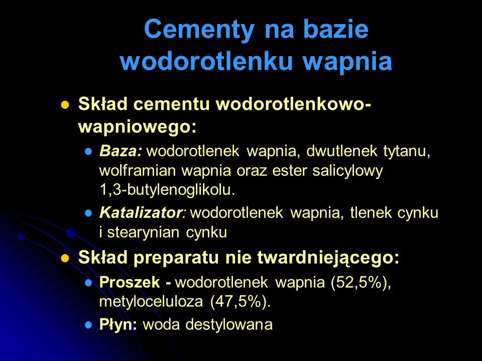 Cementy na bazie wodorotlenku wapnia Skład cementu wodorotlenkowo- wapniowego: Baza: wodorotlenek wapnia, dwutlenek tytanu, wolframian wapnia oraz est