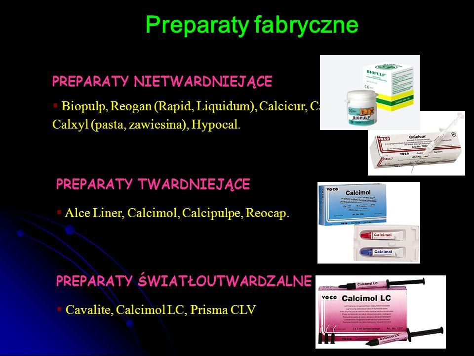 Preparaty fabryczne PREPARATY NIETWARDNIEJĄCE  Biopulp, Reogan (Rapid, Liquidum), Calcicur, Calastept, Calxyl (pasta, zawiesina), Hypocal. PREPARATY