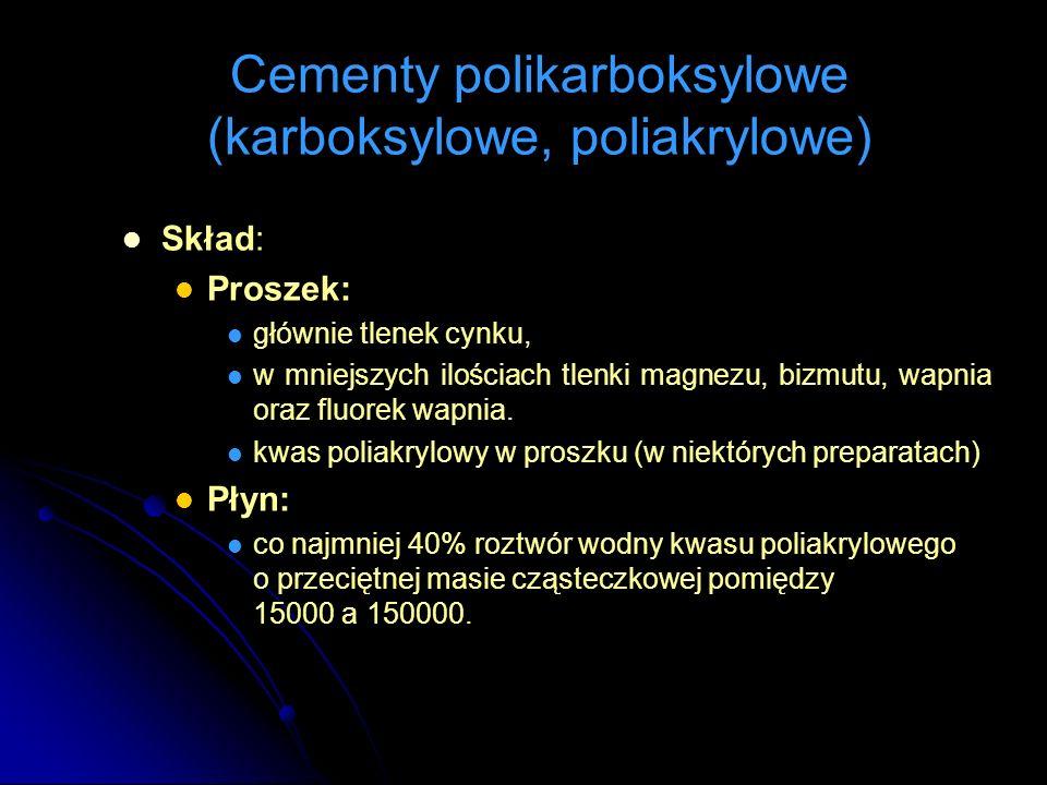 Skład: Proszek: głównie tlenek cynku, w mniejszych ilościach tlenki magnezu, bizmutu, wapnia oraz fluorek wapnia. kwas poliakrylowy w proszku (w niekt
