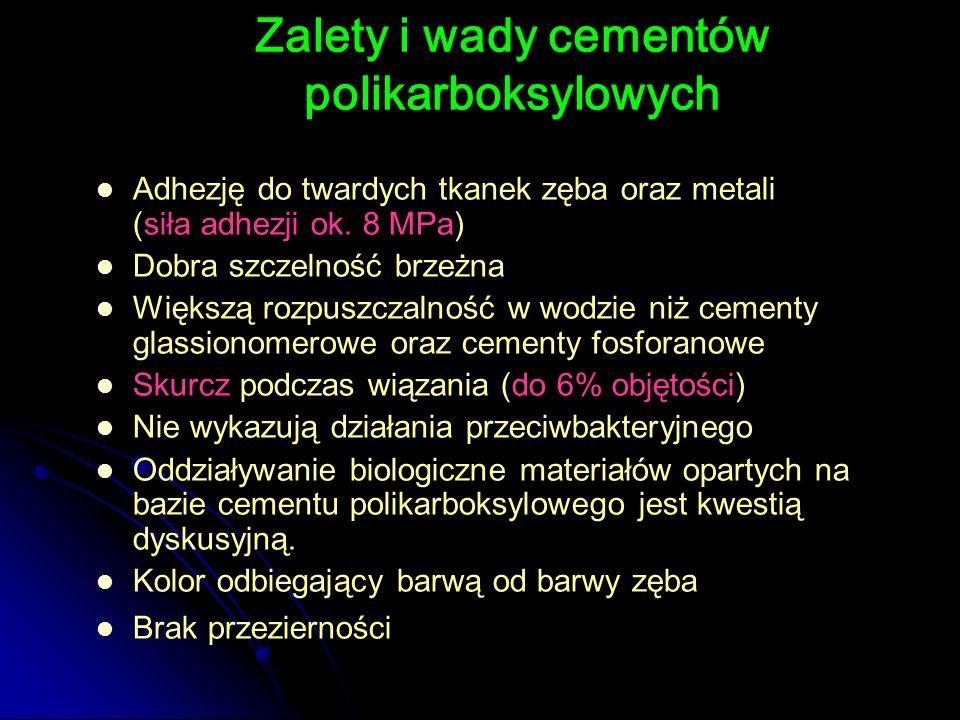 Adhezję do twardych tkanek zęba oraz metali (siła adhezji ok. 8 MPa) Dobra szczelność brzeżna Większą rozpuszczalność w wodzie niż cementy glassionome