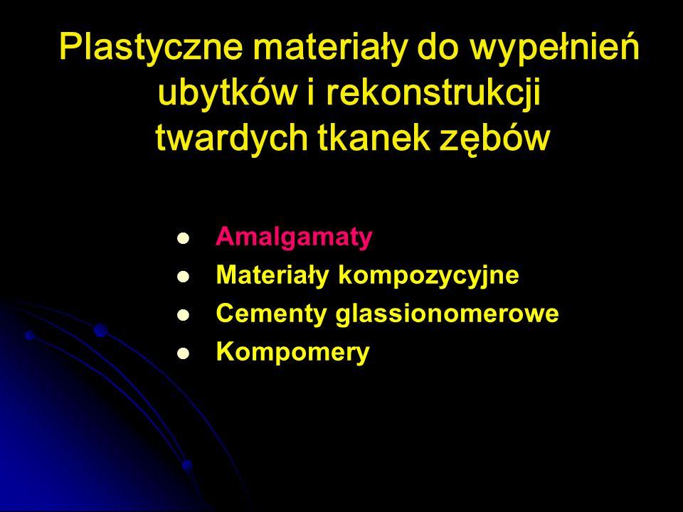 Plastyczne materiały do wypełnień ubytków i rekonstrukcji twardych tkanek zębów Amalgamaty Materiały kompozycyjne Cementy glassionomerowe Kompomery