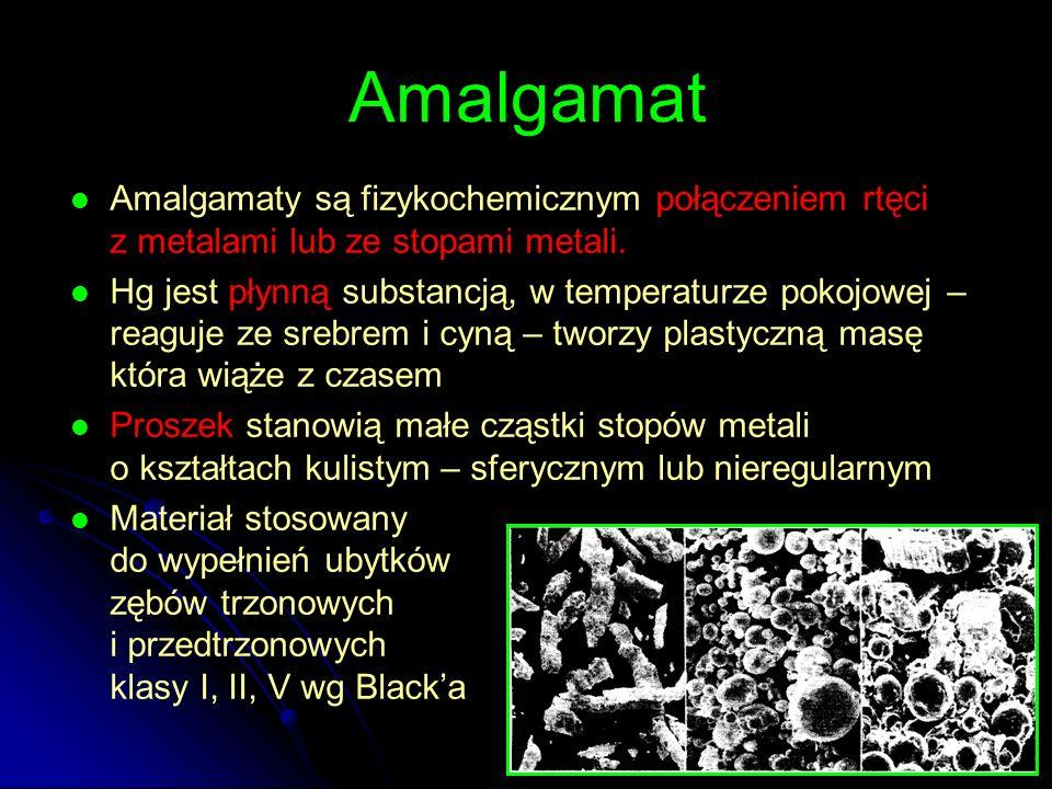 Amalgamat Amalgamaty są fizykochemicznym połączeniem rtęci z metalami lub ze stopami metali. Hg jest płynną substancją, w temperaturze pokojowej – rea