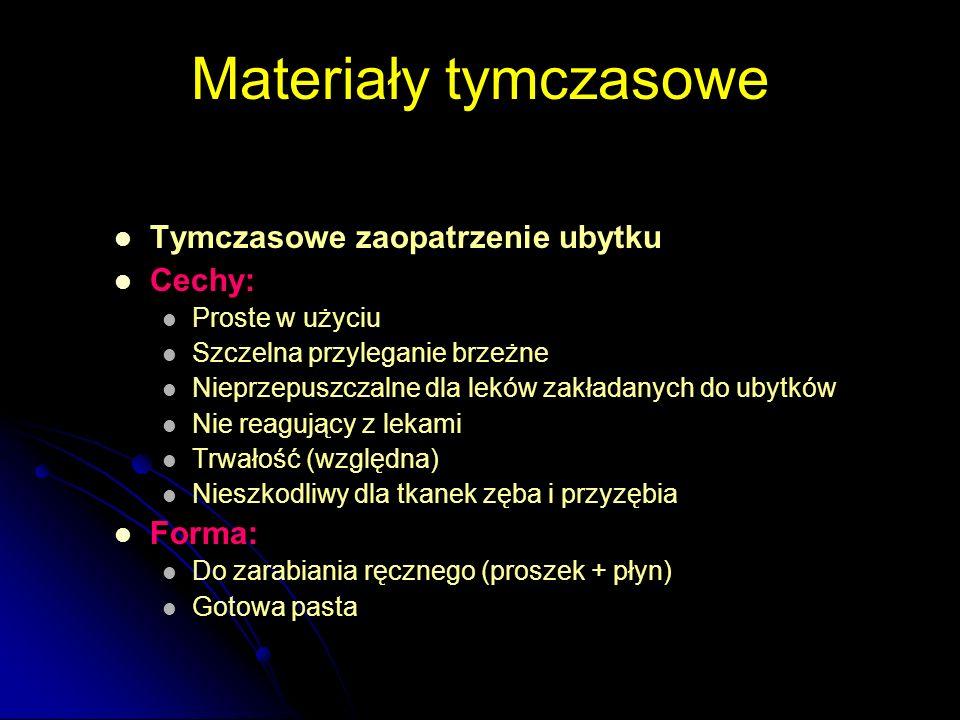 Materiały podkładowe Funkcje podstawowe: OPOROWA (base) Zabezpieczenie miazgi przed urazami mechanicznymi i termicznymi USZCZELNIAJĄCA (liner) Izolacja przed czynnikami chemicznymi z materiału wypełniającego oraz środowiska jamy ustnej Obie funkcje łączą cementy: Polikarboksylowe Glassionomerowe Pozostałe materiały podkładowe pełnią rolę Linera: lakiery żywicze, cementy wodorotlenkowo-wapniowe Base: np.