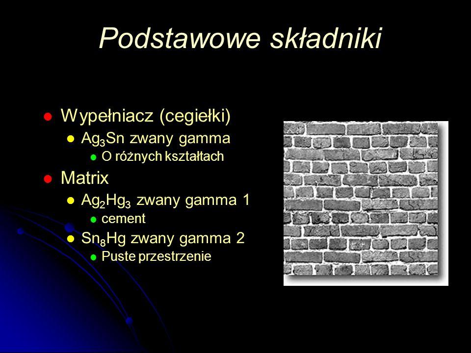 Wypełniacz (cegiełki) Ag 3 Sn zwany gamma O różnych kształtach Matrix Ag 2 Hg 3 zwany gamma 1 cement Sn 8 Hg zwany gamma 2 Puste przestrzenie Podstawo