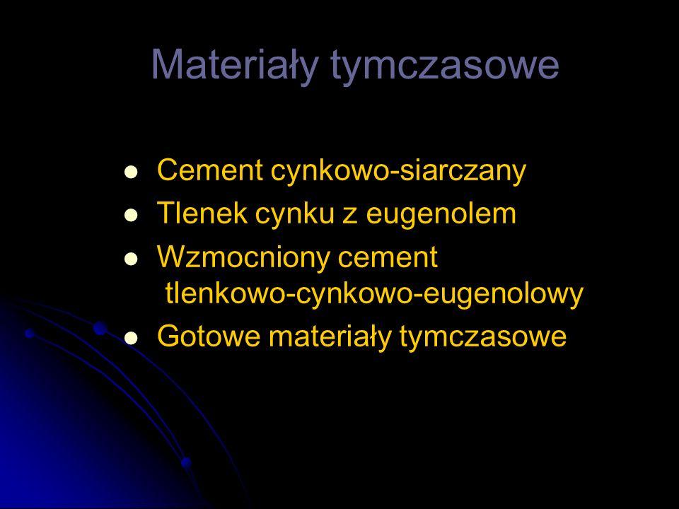 Cement cynkowo-siarczany Tlenek cynku z eugenolem Wzmocniony cement tlenkowo-cynkowo-eugenolowy Gotowe materiały tymczasowe Materiały tymczasowe