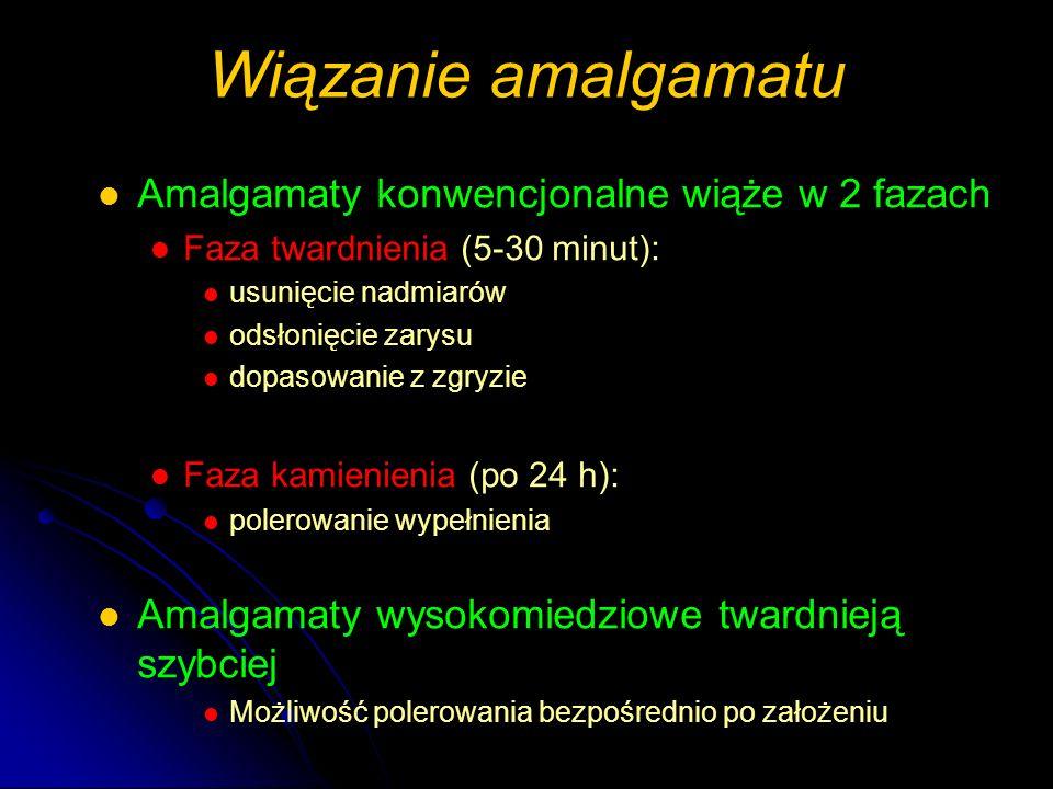 Wiązanie amalgamatu Amalgamaty konwencjonalne wiąże w 2 fazach Faza twardnienia (5-30 minut): usunięcie nadmiarów odsłonięcie zarysu dopasowanie z zgr