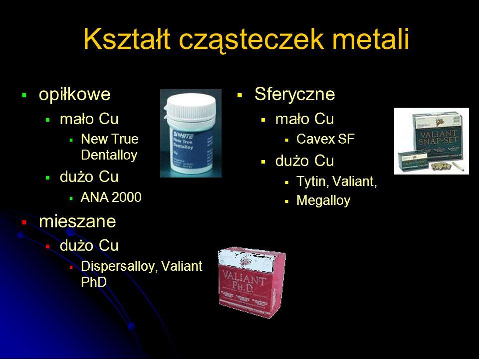 Kształt cząsteczek metali  opiłkowe  mało Cu  New True Dentalloy  dużo Cu  ANA 2000  mieszane  dużo Cu  Dispersalloy, Valiant PhD   Sferyczn