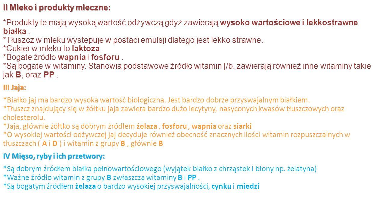 V Masło i śmietana: *Źródło witamin: karoten i D.*Zawiera duże ilości cholesterolu.