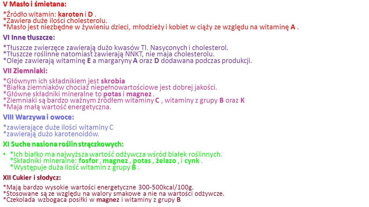 V Masło i śmietana: *Źródło witamin: karoten i D. *Zawiera duże ilości cholesterolu.