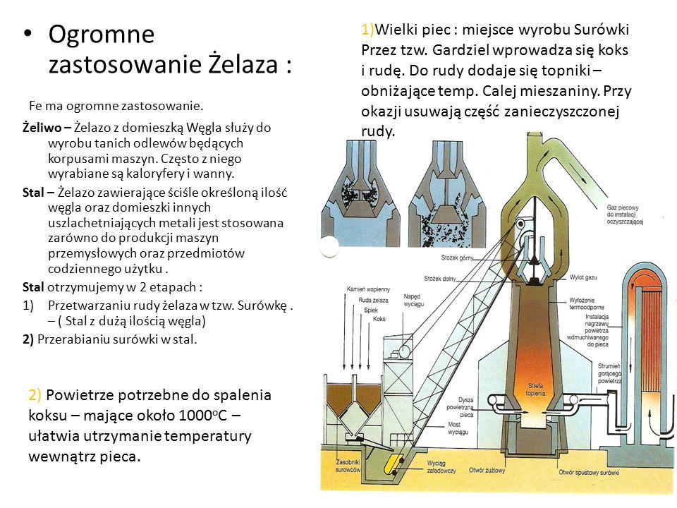 Ogromne zastosowanie Żelaza : Fe ma ogromne zastosowanie. Żeliwo – Żelazo z domieszką Węgla służy do wyrobu tanich odlewów będących korpusami maszyn.
