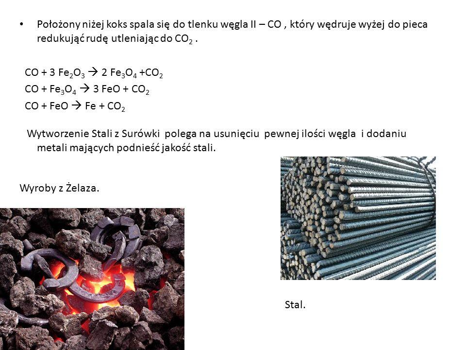 Położony niżej koks spala się do tlenku węgla II – CO, który wędruje wyżej do pieca redukująć rudę utleniając do CO 2. CO + 3 Fe 2 O 3  2 Fe 3 O 4 +C
