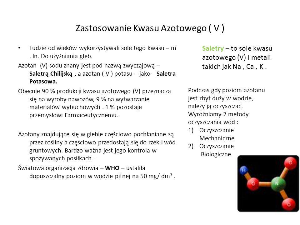 Zastosowanie Kwasu Azotowego ( V ) Ludzie od wieków wykorzystywali sole tego kwasu – m. In. Do użyźniania gleb. Azotan (V) sodu znany jest pod nazwą z