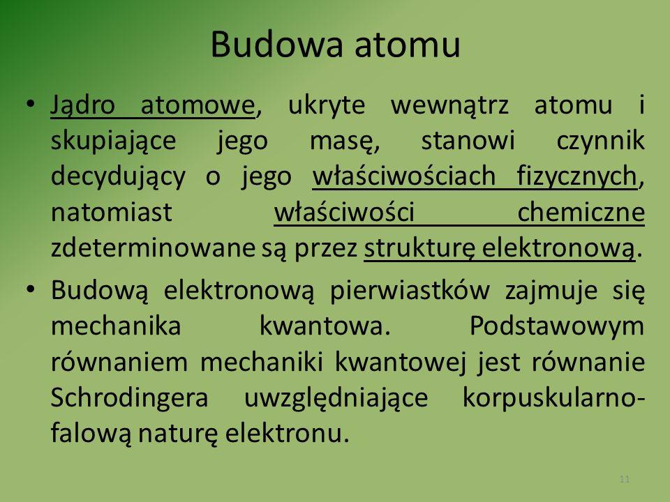 Budowa atomu Jądro atomowe, ukryte wewnątrz atomu i skupiające jego masę, stanowi czynnik decydujący o jego właściwościach fizycznych, natomiast właśc