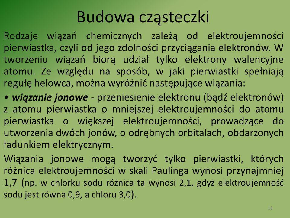 Budowa cząsteczki Rodzaje wiązań chemicznych zależą od elektroujemności pierwiastka, czyli od jego zdolności przyciągania elektronów. W tworzeniu wiąz