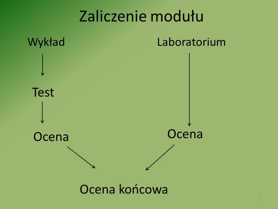 Zaliczenie modułu Wykład Laboratorium Test Ocena Ocena końcowa 3