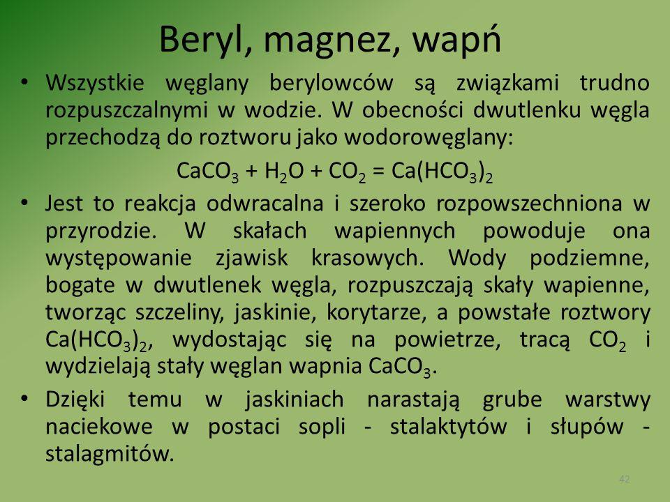 Beryl, magnez, wapń Wszystkie węglany berylowców są związkami trudno rozpuszczalnymi w wodzie. W obecności dwutlenku węgla przechodzą do roztworu jako