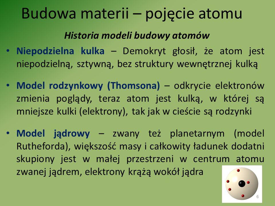 Budowa materii – pojęcie atomu Historia modeli budowy atomów Niepodzielna kulka – Demokryt głosił, że atom jest niepodzielną, sztywną, bez struktury w