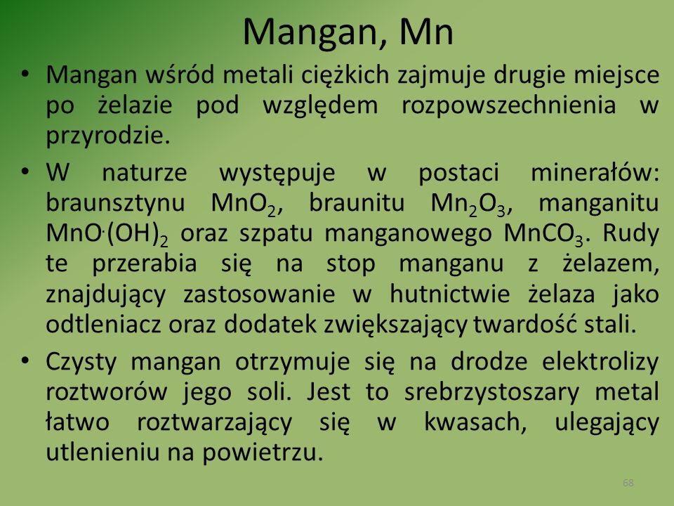 Mangan, Mn Mangan wśród metali ciężkich zajmuje drugie miejsce po żelazie pod względem rozpowszechnienia w przyrodzie. W naturze występuje w postaci m