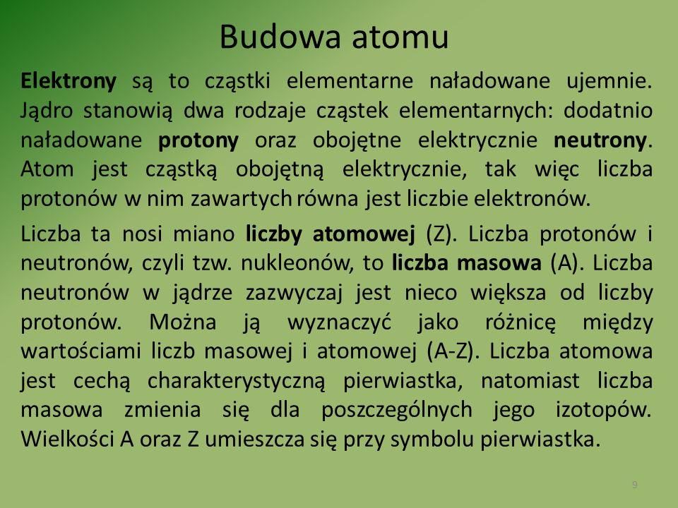 Elektrony są to cząstki elementarne naładowane ujemnie. Jądro stanowią dwa rodzaje cząstek elementarnych: dodatnio naładowane protony oraz obojętne el