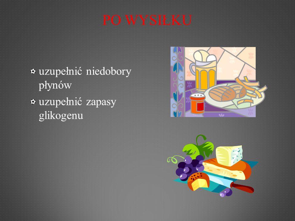 PO WYSIŁKU uzupełnić niedobory płynów uzupełnić zapasy glikogenu