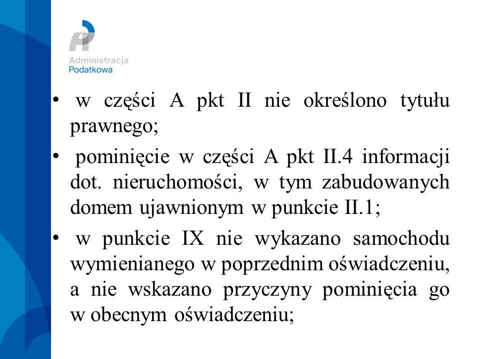 w części A pkt II nie określono tytułu prawnego; pominięcie w części A pkt II.4 informacji dot.