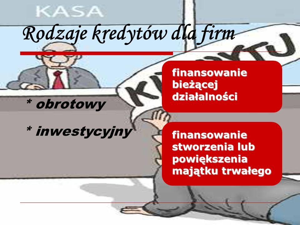 Rodzaje kredytów dla firm * obrotowy * inwestycyjny finansowanie bieżącej działalności finansowanie stworzenia lub powiększenia majątku trwałego