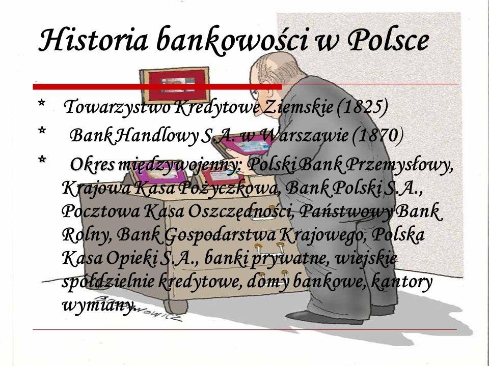 Historia bankowości w Polsce * Towarzystwo Kredytowe Ziemskie (1825) * Bank Handlowy S.A. w Warszawie (1870) * Okres międzywojenny * Okres międzywojen