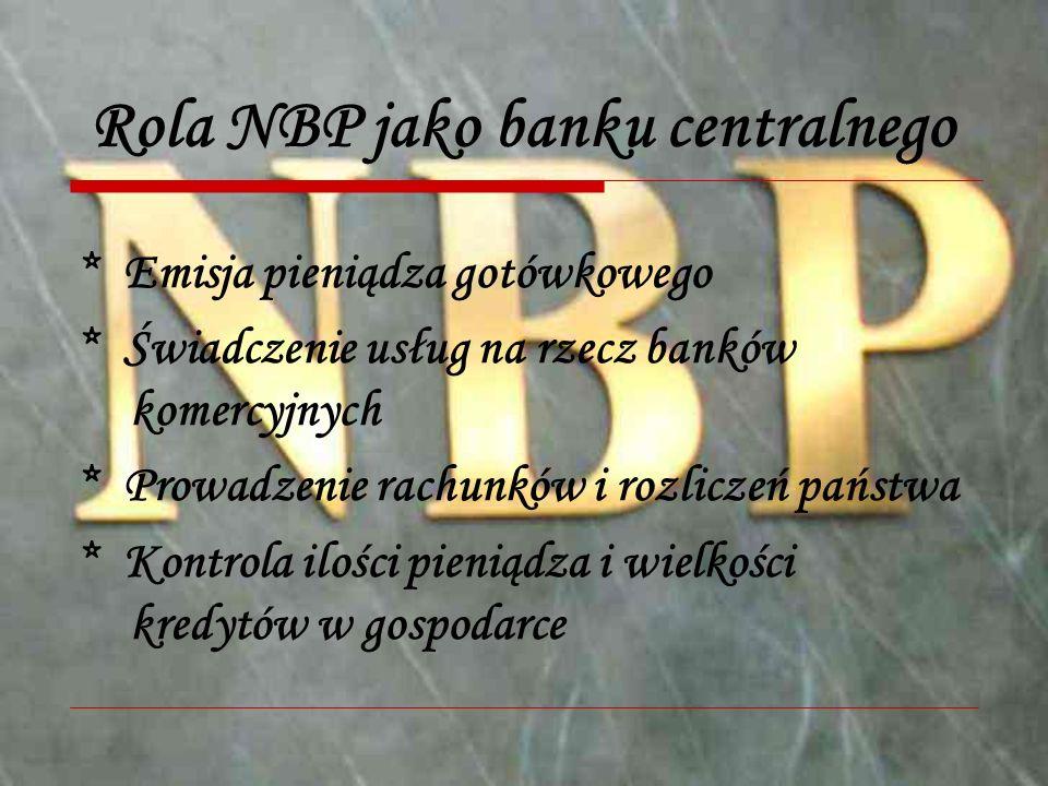Rola NBP jako banku centralnego * Emisja pieniądza gotówkowego * Świadczenie usług na rzecz banków komercyjnych * Prowadzenie rachunków i rozliczeń państwa * Kontrola ilości pieniądza i wielkości kredytów w gospodarce