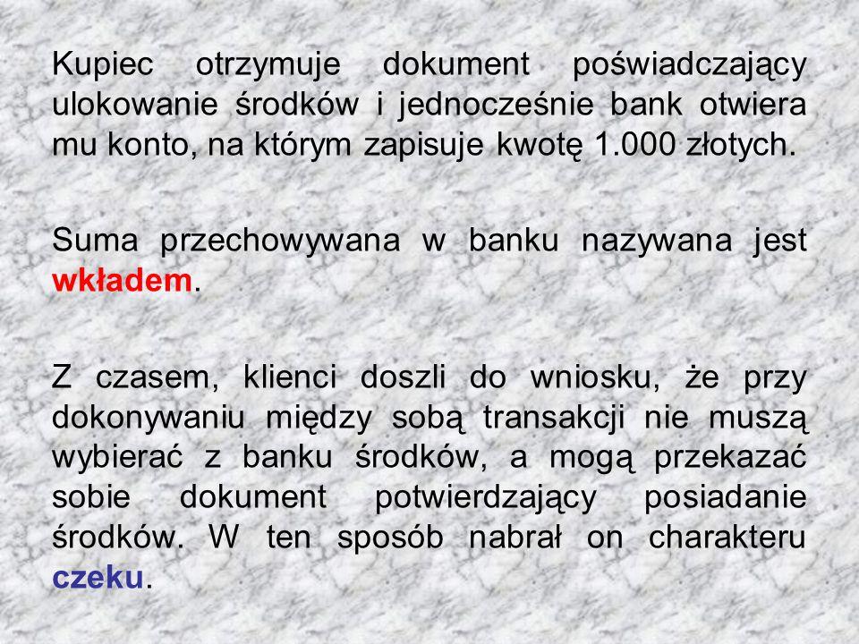 Kupiec otrzymuje dokument poświadczający ulokowanie środków i jednocześnie bank otwiera mu konto, na którym zapisuje kwotę 1.000 złotych.