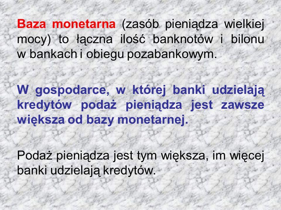 Baza monetarna (zasób pieniądza wielkiej mocy) to łączna ilość banknotów i bilonu w bankach i obiegu pozabankowym.