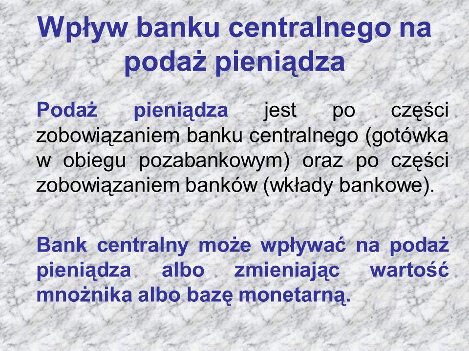 Wpływ banku centralnego na podaż pieniądza Podaż pieniądza jest po części zobowiązaniem banku centralnego (gotówka w obiegu pozabankowym) oraz po części zobowiązaniem banków (wkłady bankowe).