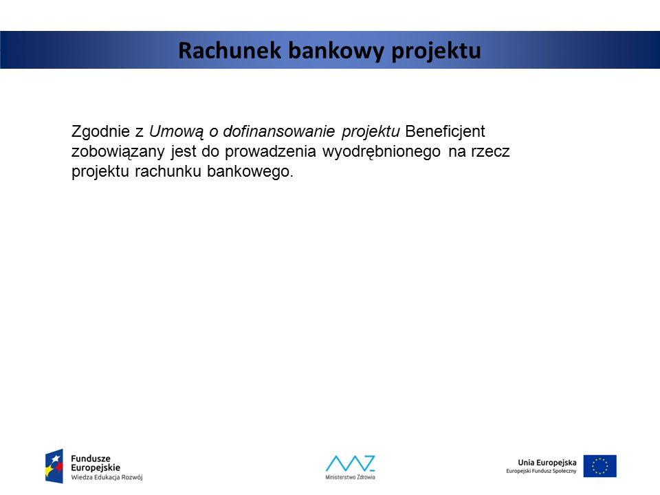 Rachunek bankowy projektu Zgodnie z Umową o dofinansowanie projektu Beneficjent zobowiązany jest do prowadzenia wyodrębnionego na rzecz projektu rachu