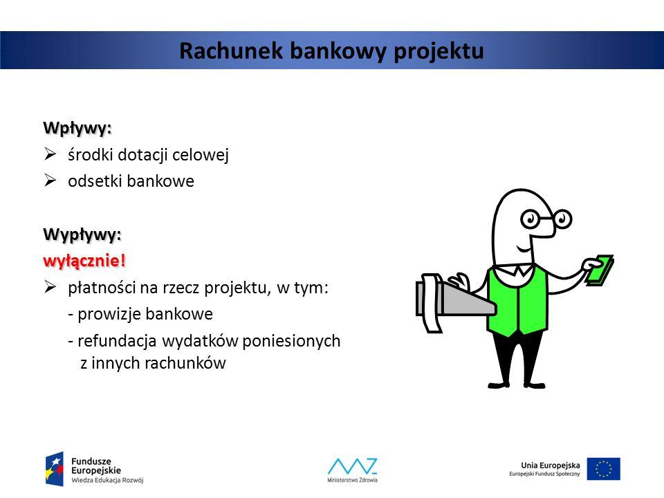 Rachunek bankowy projektu Wpływy:  środki dotacji celowej  odsetki bankoweWypływy:wyłącznie!  płatności na rzecz projektu, w tym: - prowizje bankow