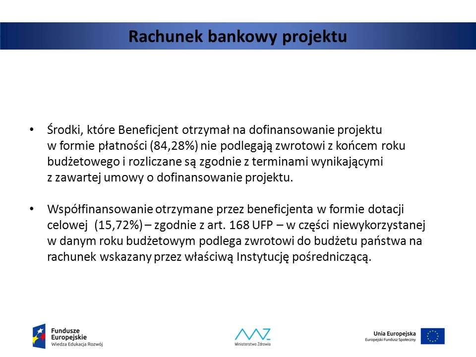 Rachunek bankowy projektu Środki, które Beneficjent otrzymał na dofinansowanie projektu w formie płatności (84,28%) nie podlegają zwrotowi z końcem ro