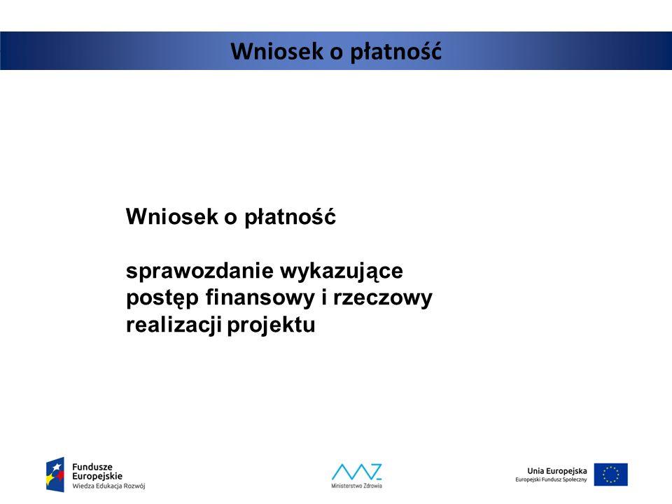 Wniosek o płatność sprawozdanie wykazujące postęp finansowy i rzeczowy realizacji projektu