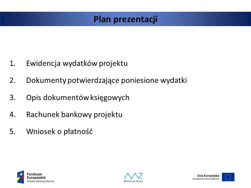 Plan prezentacji 1.Ewidencja wydatków projektu 2.Dokumenty potwierdzające poniesione wydatki 3.Opis dokumentów księgowych 4.Rachunek bankowy projektu