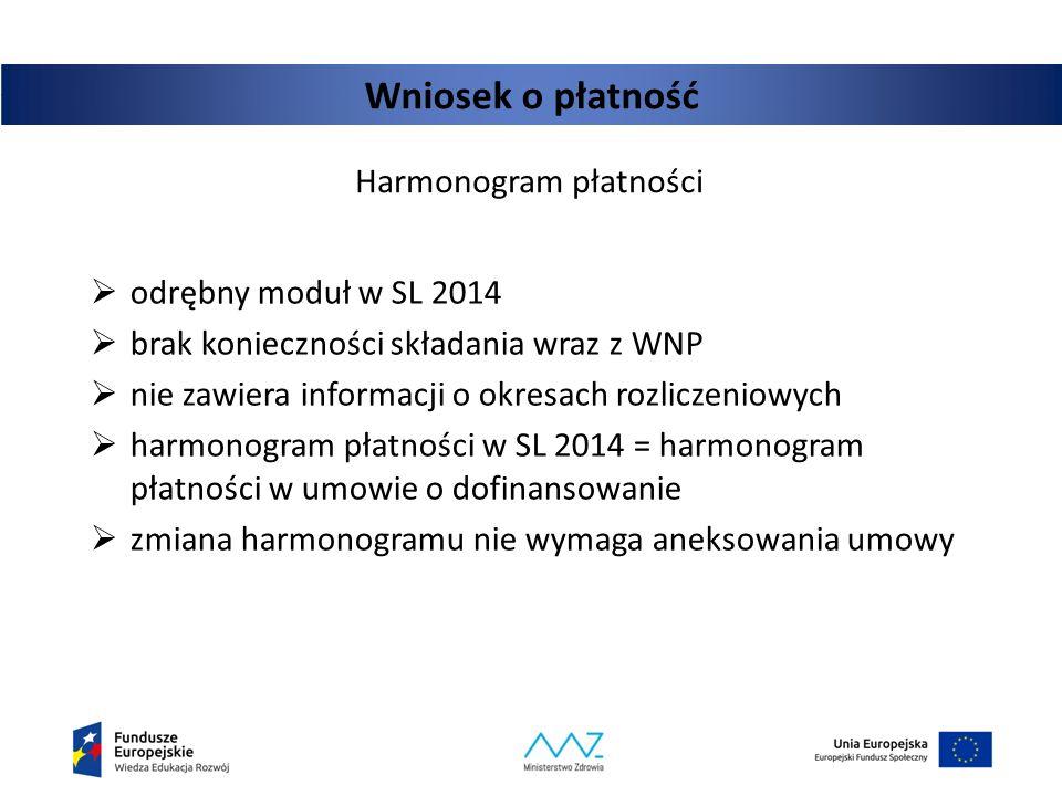 Wniosek o płatność Harmonogram płatności  odrębny moduł w SL 2014  brak konieczności składania wraz z WNP  nie zawiera informacji o okresach rozlic