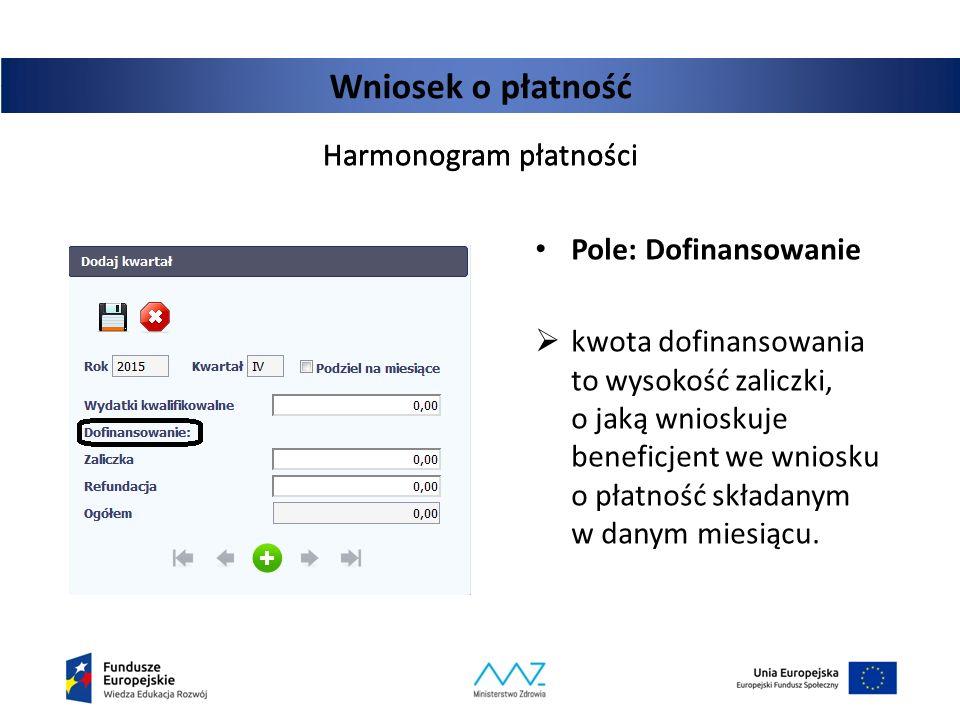 Wniosek o płatność Harmonogram płatności Pole: Dofinansowanie  kwota dofinansowania to wysokość zaliczki, o jaką wnioskuje beneficjent we wniosku o p