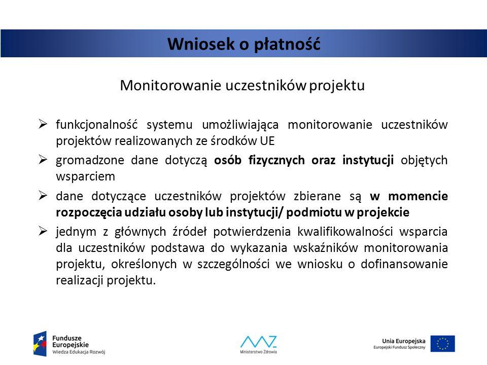 Wniosek o płatność  funkcjonalność systemu umożliwiająca monitorowanie uczestników projektów realizowanych ze środków UE  gromadzone dane dotyczą os